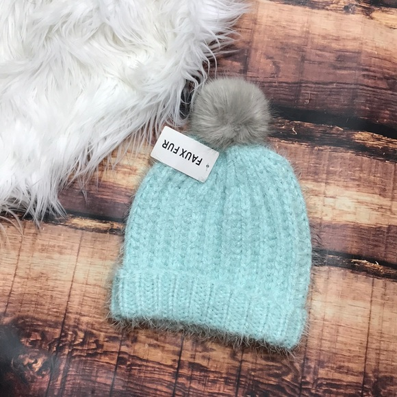 3a3549c9376981 Accessories | Mint Tiffany Blue Sparkly Pompom Beanie Winter Hat ...